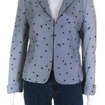Akris Punto Womens Printed Blazer Gray Black Size 10 Photo