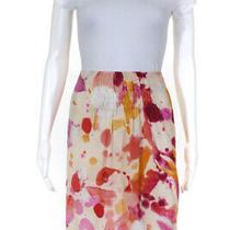 Akris Punto Womens Silk Printed Ruched Mini Skirt Yellow Orange Red Size 10 Photo