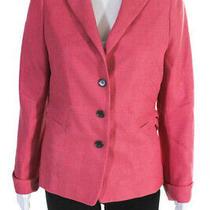 Akris Punto Womens Three Button Notched Lapel Blazer Pink Wool Size 12 Photo