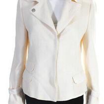 Akris Punto Womens Three Button Notched Lapel Blazer White Wool Size 12 Photo