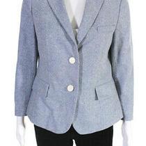 Akris Punto Womens Two Button Notched Lapel Blazer Jacket Blue Wool Size 10 Photo