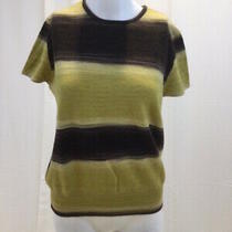 Akris Punto Womens Wool Cashmere Striped Sweater Pullover Short Sleeves Size 14 Photo