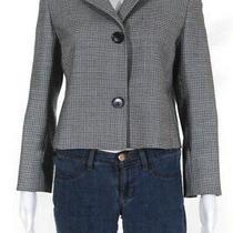 Akris Punto Womens Wool Houndstooth Print Button Down Coat Black White Size 6 Photo