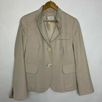 Akris Punto Wool Career Structured Blazer Jacket Cream Size 12 Womens Photo