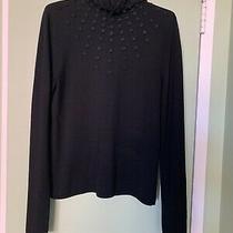 Akris Punto Wool Long Sleeve Sweater Top Black Size 6 Photo