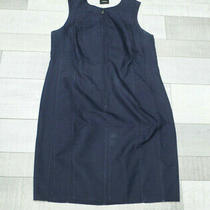 Akris Punto Zip Front Sheath Sleeveless Dress Size 14 Navy Blue & Ivory Photo
