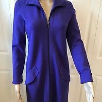 Akris Royal Purple/blue Long Wool Blend Sweater Jacket Coat Blazer M Photo