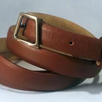 Akris Skinny Brown Leather Wrap-Around Belt Gunmetal Buckle 36-38 Euc Photo