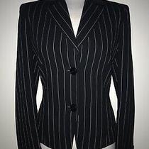 Akris Uk10 Very Dark Blue - White Pinstripe Collared Fitted Wool Jacket Photo