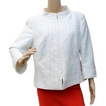 Akris White Linen Silk Pleated Zip Front Blazer Jacket Size 12 Photo