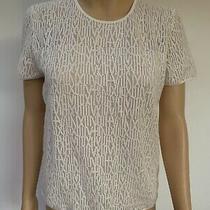 Akris White Short Sleeve Cotton Silk Blend Lined T-Shirt Top Us 8 Runs Small Photo