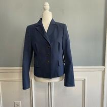 Akris Women's Blazer Jacket Blue Distressed Lined Size 10 Career Business Work  Photo