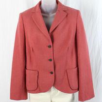 Akris Women's Blush Cashmere Three Button Blazer Jacket Size 12 Photo
