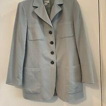 Akris Womens Cashmere Baby Blue Lined Jacket Womens Size 12 Made in Italy Photo