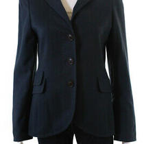 Akris Womens Button Up Collared Cashmere Blazer Jacket Blue Size 8 Photo