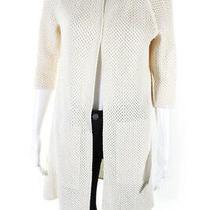 Akris Womens Cotton Knit Open Front Long Cardigan Sweater Ivory Size 8 Photo