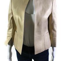 Akris Womens Metallic Leather 3/4 Sleeve Open Front Jacket Gold Size 6 Photo