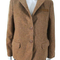 Akris Womens Notched Collar Leather Trim Blazer Brown Cashmere Size 10 Photo