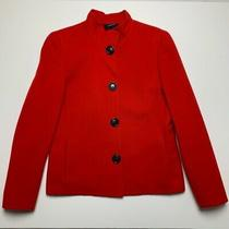 Akris Womens Red Blazer Jacket 4 Buttons Mock Neck Wool Cashmere Italy Us 6 Photo