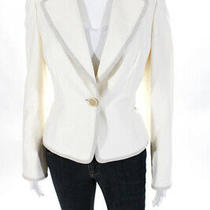Akris Womens Single Button Light Blazer Jacket White Cotton Blend Size 8 Photo