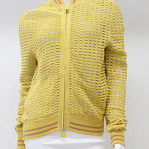 Akris Yellow Large Knit See Through Sport Jacket Sz 6 Photo