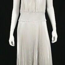 Alc A.lc. 695 Nwt Metallic Silver Poly Pleated Weston Midi Dress 12 Photo