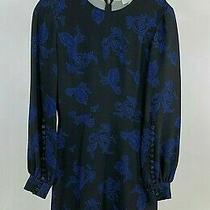 Alc Nwt 595 Luna Long Sleeve Black Blue Silk Paisley Fit Flare Dress Size 2 Photo