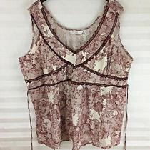 Alc Womens Blouse Top Size 3x 100% Cotton Burgundy Beige Sleeveless Tie Back  Photo