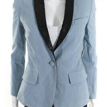 Alc  Womens One Button Blazer Light Blue Black Leather Trim Size 2 Photo