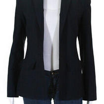 Alc Womens One Button Notched Collar Blazer Navy Blue Wool Size 0 Photo