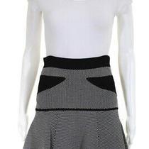 Alc Womens Stretch Knit Geometric Drop Waist Mini Skirt Black White Size Small Photo