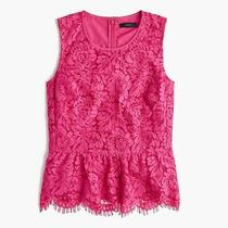 Ald Women's Size 6 J. Crew Lace Peplum Top Fuchsia Bloom Tank Blouse Cami Shirt Photo