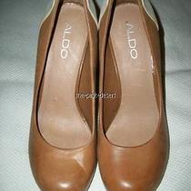 Aldo 37 Brown Wood High Heel Shoes Photo
