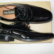 Aldo Bellini  Men Black Dress Tuxedo Wedding Shoes Oxfords Patent Italy Formal Photo