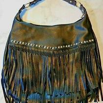 Aldo Biker Chick Style Large Black Hobo Bag Multi-Colored Studs Layers of Fringe Photo