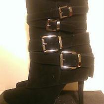 Aldo Black Boots Silver Buckles 37/us 6.5 Stripper/exotic/club/goth Photo