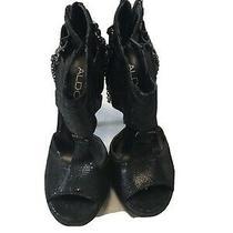 Aldo Black Embellished Sandle Open Toe High Heel Pump - Size 38 Photo