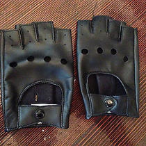 Aldo Black Faux Leather Fingerless Gloves. Size M. Photo