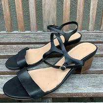Aldo Black Heel Sandals Think Ankle Strap Block Open Toe 9 Photo