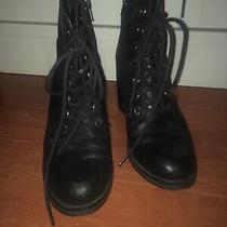 Aldo Black Laced Up Heeled Boots Uk 5.5 Photo