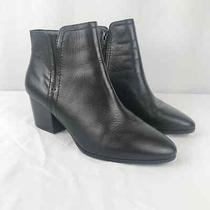 Aldo Black Leather Ankle Booties Size 8.5 Photo
