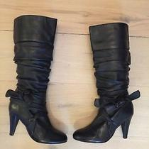 Aldo Black Leather Bow Slouch High Heel Boots Womens Size 37 Eur 6.5 Photo