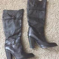 Aldo Black Leather Knee High Buckle Heels Boots 39 Photo