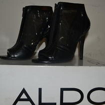 Aldo Black Leather/mesh Peep Toes W/front Zipper Shootie (7) Worn O Nly Once Photo