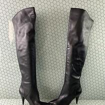 Aldo Black Leather Pointed Toe Side Zip High Heel Over the Knee Boots Womens 7 Photo