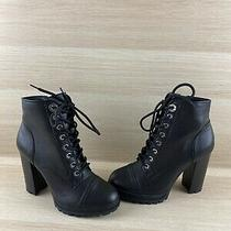 Aldo Black Leather Round Toe Lace Up/zip Block Heel Ankle Boots Womens Size 8 Photo