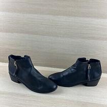 Aldo Black Leather Round Toe Side Zip Block Heel Ankle Boots Women's Size 7 Photo