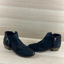 Aldo Black Leather Round Toe Side Zip Block Heel Ankle Boots Women's Size 9 Photo