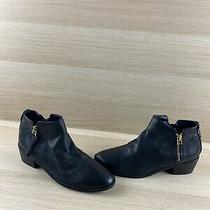 Aldo Black Leather Round Toe Side Zip Block Heel Ankle Boots Women's Size 6.5 Photo