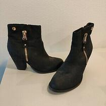 Aldo Black Leather Round Toe Side Zip Block Heel Ankle Boots Women's Size 8 Photo